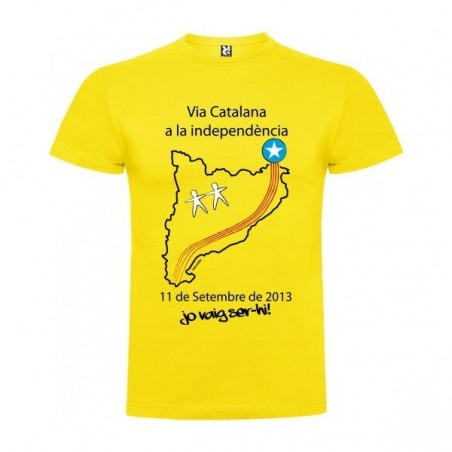 Camiseta Catalunya Via Catalana Manga Corta Hombre Color Amarillo Talla 3XL