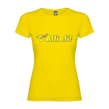 Camiseta Catalunya Allioli Manga Corta Mujer Color Amarillo Talla XS